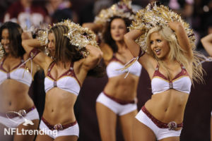 Aug 29, 2012; Landover, MD, USA; Washington Redskins cheerleaders dance during a time out of a game against the Tampa Bay Buccaneers during the first half at FedEx Field.  Mandatory Credit: Rafael Suanes-US PRESSWIRE